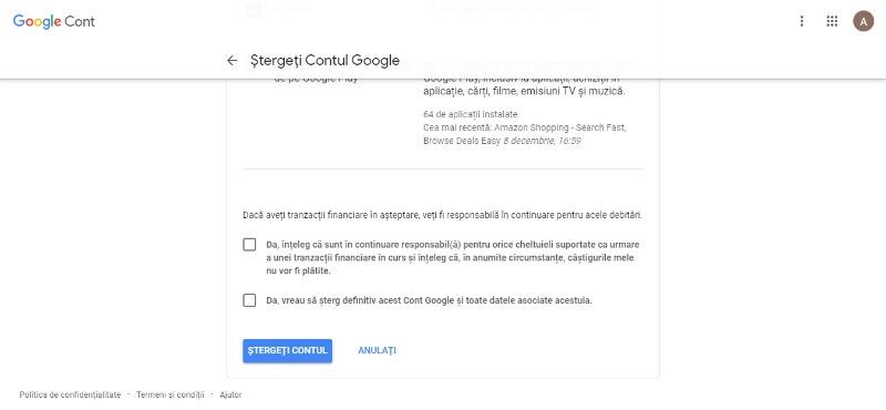 cum sa stergi servicii google
