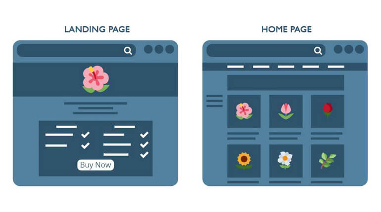 landing page contra homepage