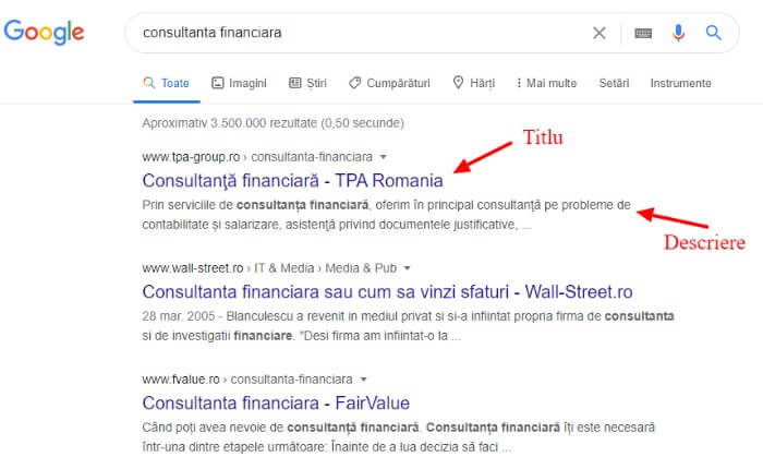 exemplu non rich snippets