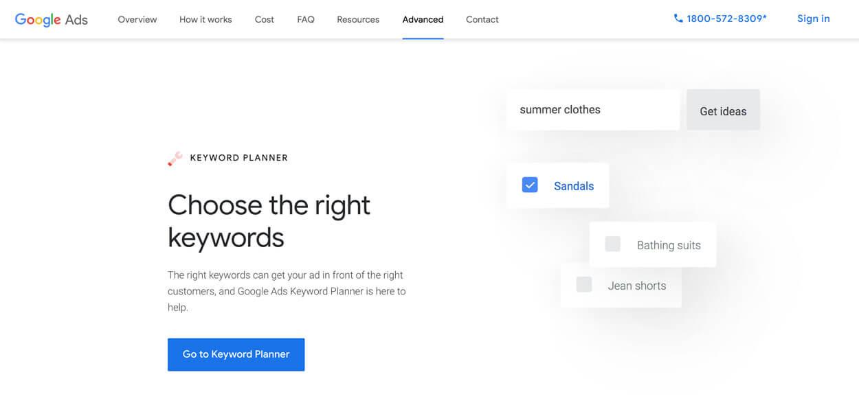 planificator cuvinte cheie google